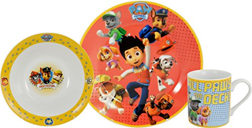 paw patrol 0121981 fr hst cksset all paws on deck 3 teilig porzellan wei asartam. Black Bedroom Furniture Sets. Home Design Ideas