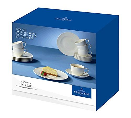 villeroy boch for me kaffee set hochwertiges geschirr aus porzellan in wei 18 teilig f r. Black Bedroom Furniture Sets. Home Design Ideas