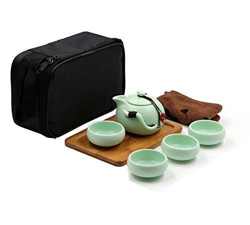 tragbare reise kungfu tee set handgemachte chinesische japanische vintage porzellan teekanne. Black Bedroom Furniture Sets. Home Design Ideas