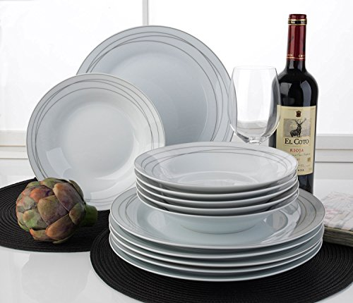tafelservice geschirrset tafel service panella 12 tlg 6 personen wei grau porzellan. Black Bedroom Furniture Sets. Home Design Ideas