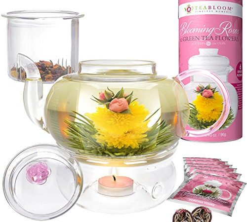 teabloom pretty in pink rosentee geschenkset 1000 ml borosilikatglas teekanne 12 rosen. Black Bedroom Furniture Sets. Home Design Ideas