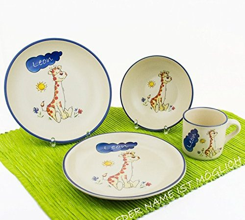 kindergeschirr mit namen set 4 tlg giraffe teller tasse m slischale aus keramik mit. Black Bedroom Furniture Sets. Home Design Ideas