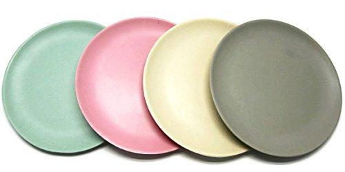 bada bing 4er set teller geschirr bambus pastell desserteller 4 farben 20 cm f r picknick. Black Bedroom Furniture Sets. Home Design Ideas