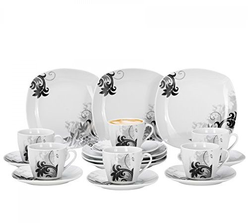 van well 36 tlg kaffeeservice black flower f r 12. Black Bedroom Furniture Sets. Home Design Ideas